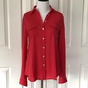 NEW LOFT Button up blouse pink Ann Taylor